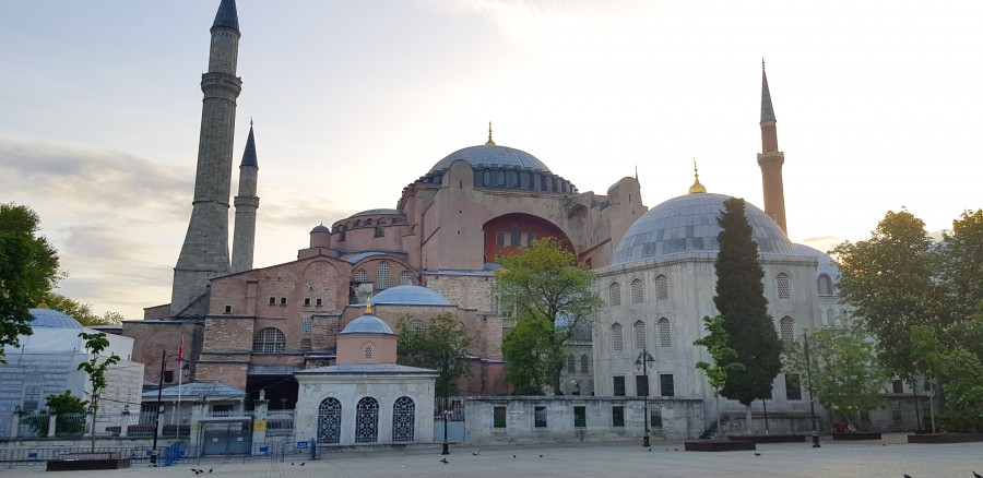 Hagia Sophia at the sunrises over Istanbul