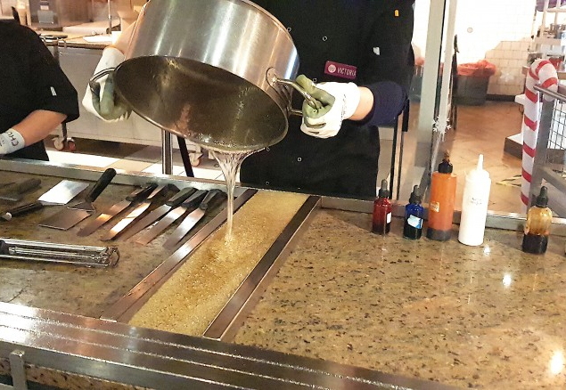 Pouring the sugar