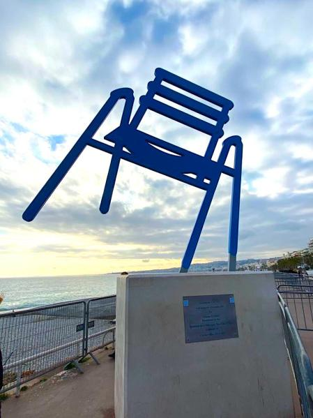 Blue chair along the Promenade des Anglais in Nice