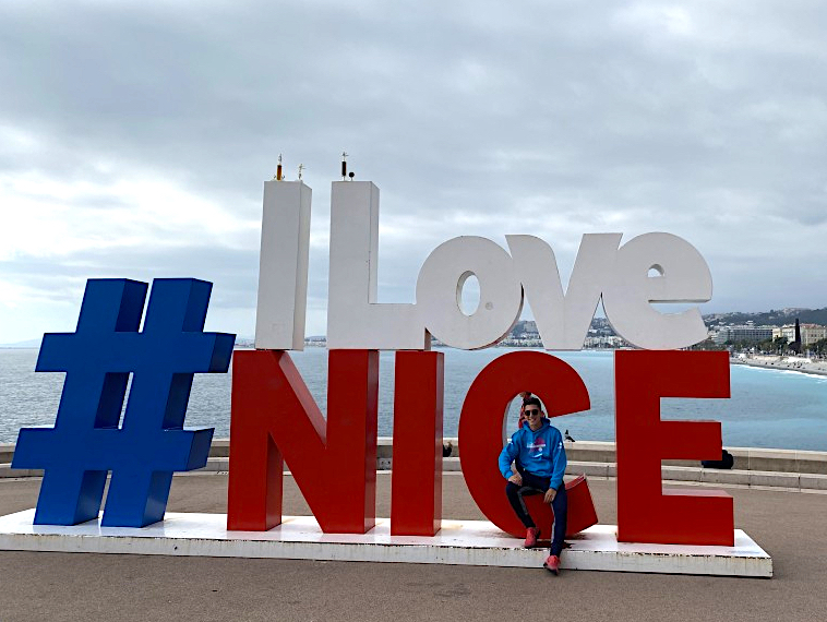 #ILoveNice sign, sitting in the C in front of the sea