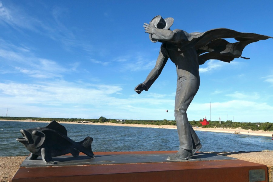 Unusual statue: Walking with fish in Lithuania