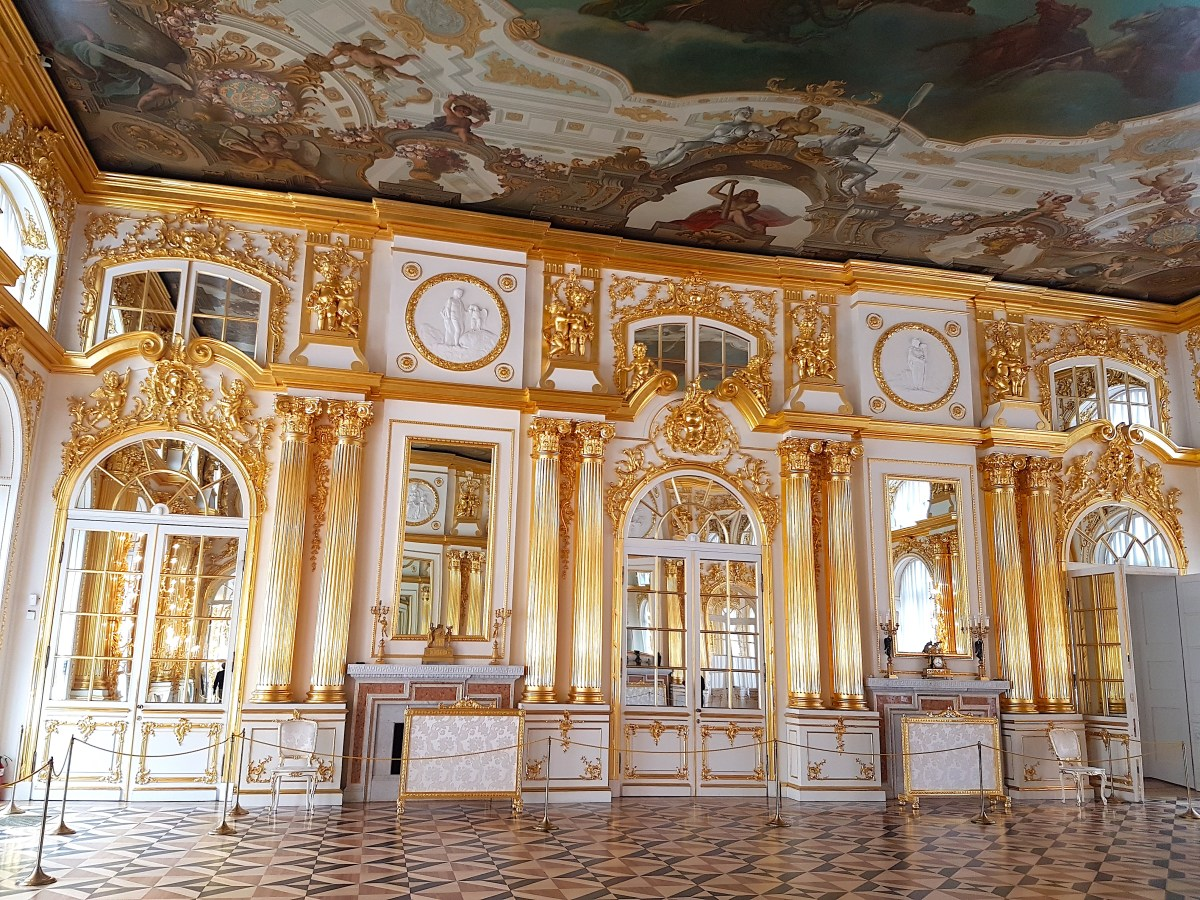 Golden room inside Catherine Palace