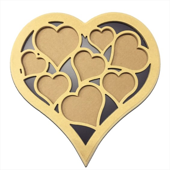 "Heart 18"" Multi Picture Frame w/ Hanger, Backing & Glass"