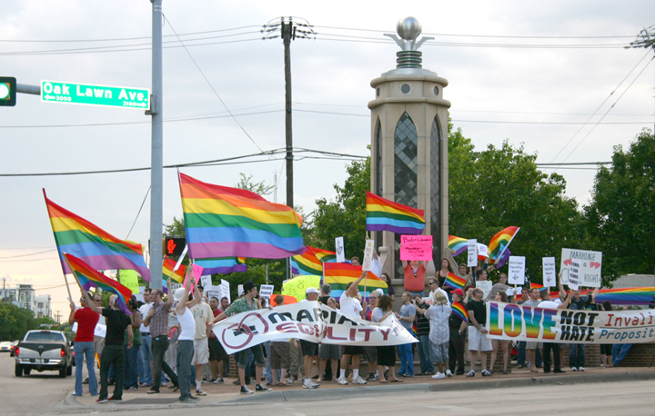 Dallas Queer LiberAction protest at the Legacy of Love column
