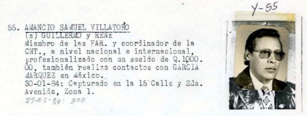 Diario Militar excerpt: Amancio Samuel Villatoro