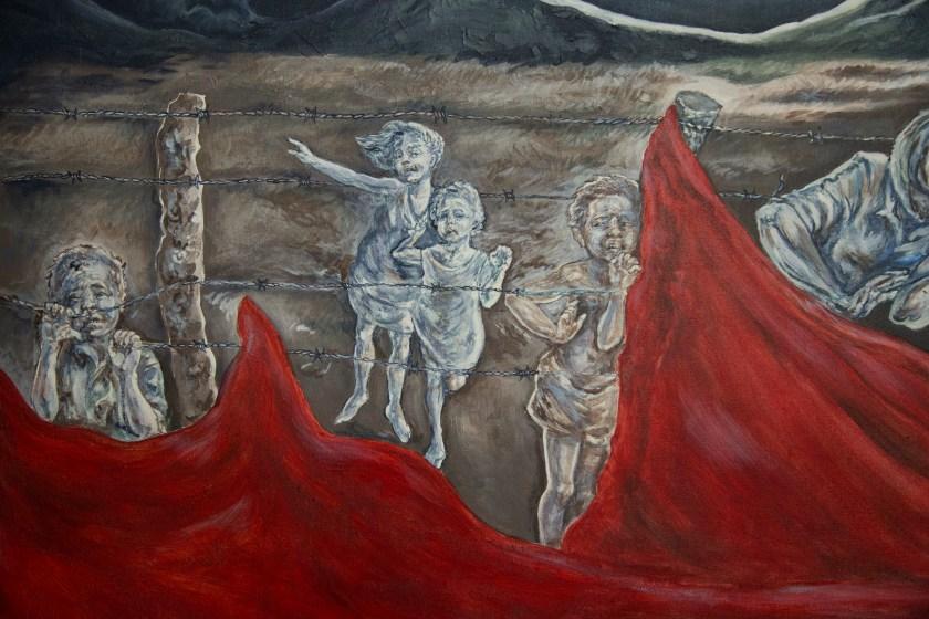 Un mural en las oficinas de Asociación Pro-Búsqueda retrata los niños y las niñas perdidos durante la guerra. (Foto: Alex Montalvo)