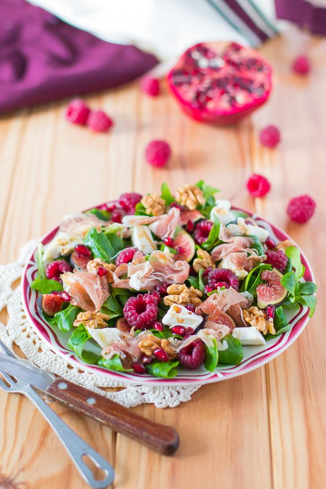 salade-jambon-figues-chevre-framboise-grenade
