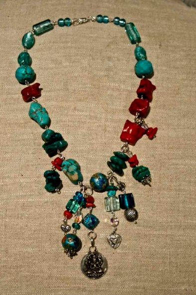 Coral and Turquoise Shiva Necklace