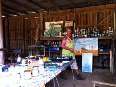 Fish in his studio