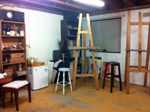 Easels in place