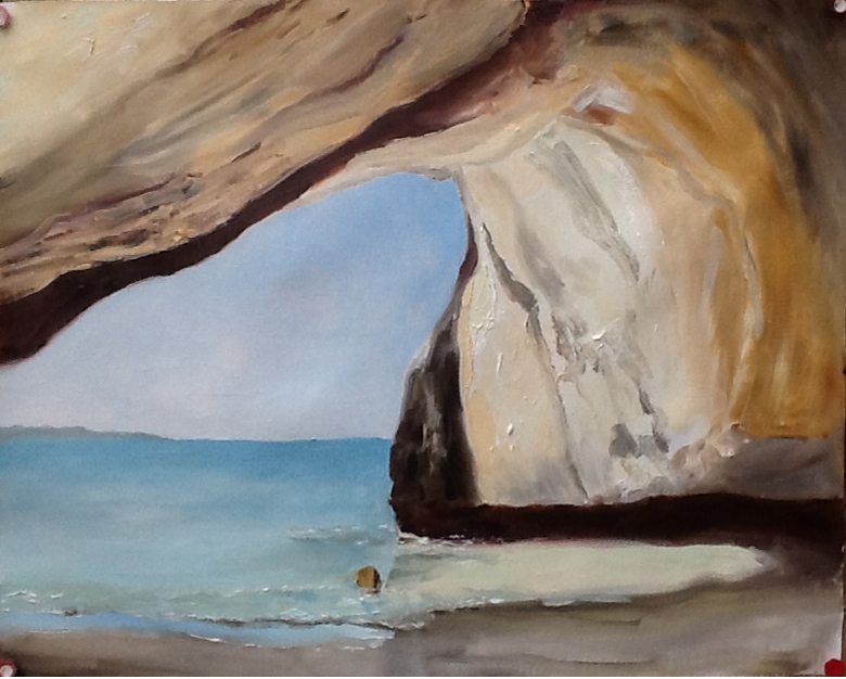 "Cathedral Cove I 19x24"" Oils by Kadira Jennings"