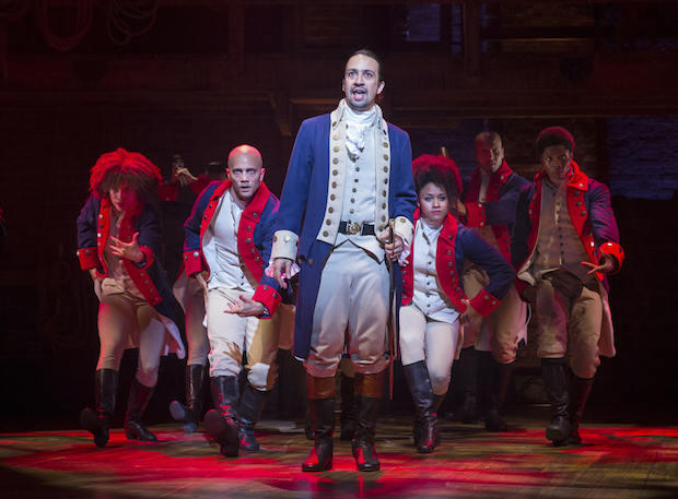 "Manuel Miranda in the title role of the musical ""Hamilton"" at the Richard Rodgers Theatre in New York."