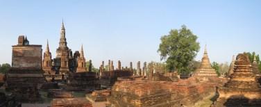 Sukhothai, Wat Mahathat complex panorama.