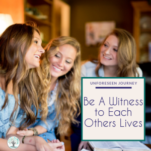 "Three young women sitting around a coffee table having a conversation. Text overlay reads ""Building Community - Be a witness to our lives"""