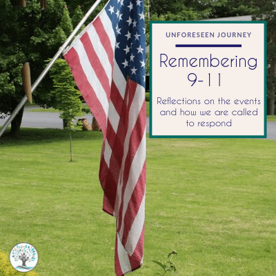 """An image of an American Flag hanging in front of a home. The text overlay reads """"Remember 9-11: Reflections on the events and how we are called to respond"""""""