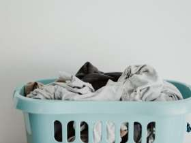 dirty laundry in a basket