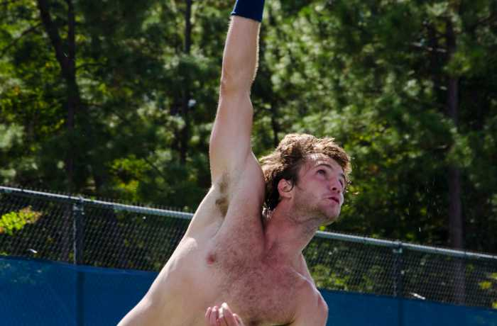Photo Credit: Connor SpielmakerMoritz Buerchner hits a serve during practice.