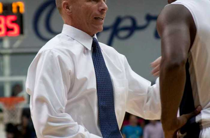 Photo Credit: Andrew Noble Head coach Matthew Driscoll directs his team against Edward Waters College.