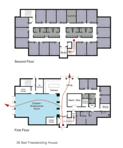 Possible floor plan from the Greek Village Feasibility Study.