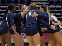 UNF squeezed out of their match against FAU with a 3-2 victory. The team rejoices on Sept. 11 after scoring against Bethune-Cookman.   Photo by Michael Hererra