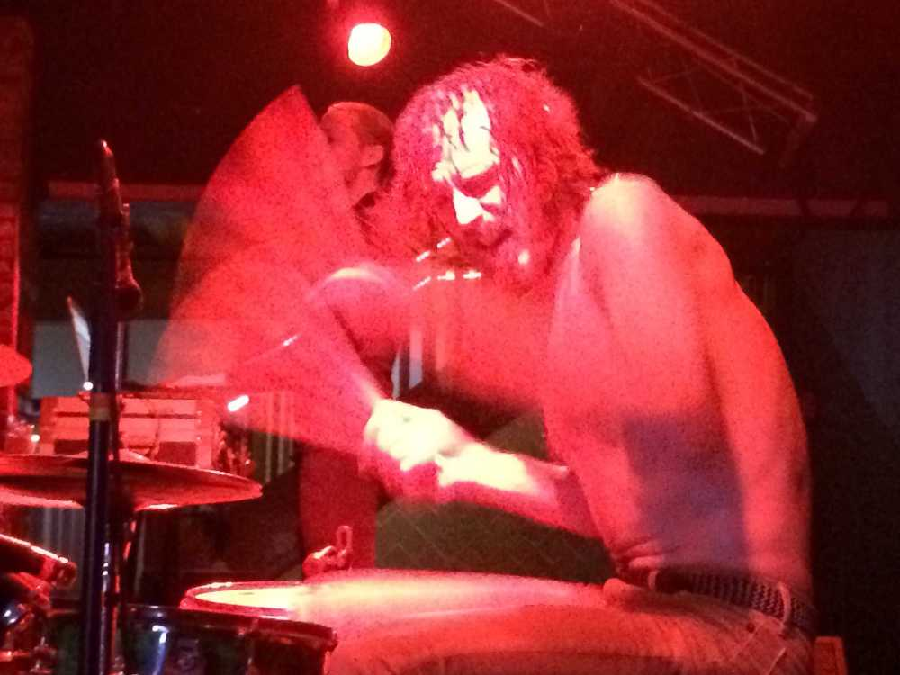 Drummer Zach Hill hammered away on the kit for over an hour. Photo by Douglas Markowitz