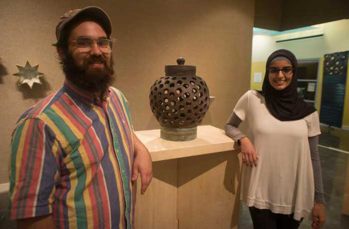 Eman Abdulhalim and Nick Abram have the second exhibit by a current UNF student in the Lufrano Gallery ever, the last being in 2011. Photo by Rachel Cazares
