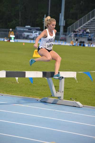Senior Kelly Hensley placed second in the 300m steeplechase event Photo by Emily Woodbury