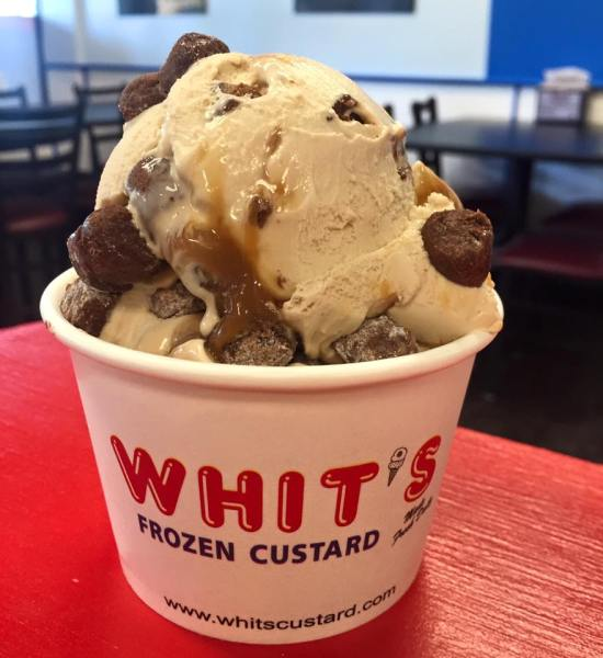 Peanut butter, chocolate chips and caramel drizzle. Photo courtesy of Whit's Frozen Custard.