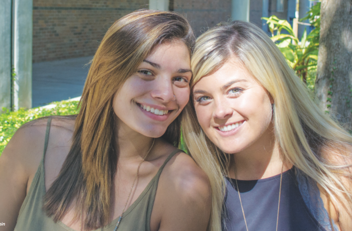 Jillian Kirn is a sociology freshman and Taylor McNeff is a multimedia journalism freshman. Photo by Lili Weinstein