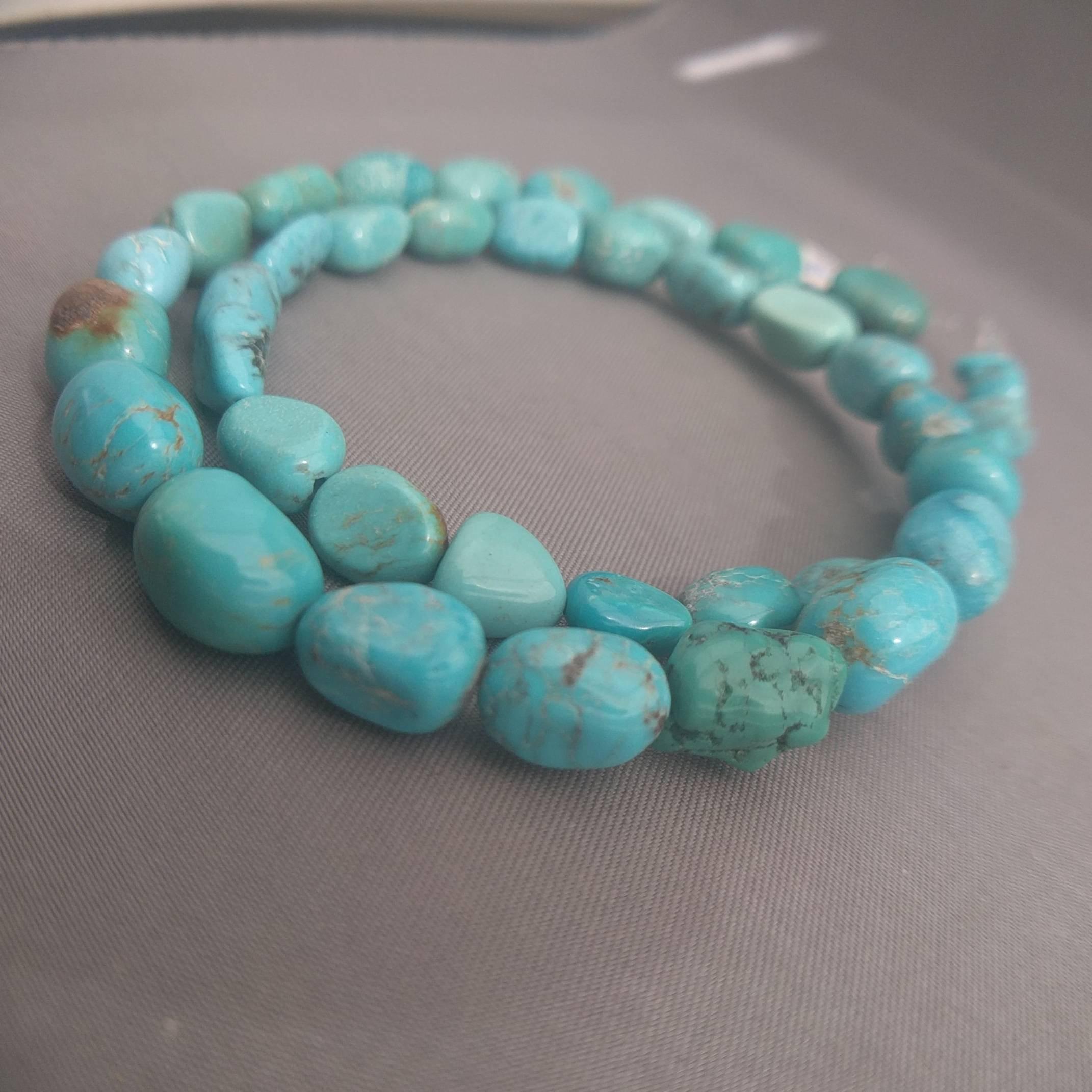 AA Genuine Kingman Turquoise Beads Stabilized Turquoise Nuggets Beads  American Turquoise Gemstone Beads Full 16