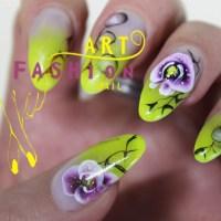 Unghii false cu pictura chineziasca ( orhideie )