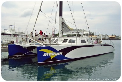 "Makani's history traces back to the 8,000 mile journey through the Panama Canal, up the coast of Central America, past Mexico, and finally to the Hawaiian Islands that was pioneered by Captain Jon Jepsen and his 3-man crew. You'll also find the specifications Hawaii catamaran facts & specs about this unique vessel. Learn about its dimensions, guest capacity, and the make and model of its engines and propellers. Plus, read about the onboard amenities this ship offers, including a 32"" HDTV flat screen, Bose surround system, DVD player, sunbathing nets and more! The Makani began as a vision, transitioned into a conceptual plan, and emerged as a sophisticated sea vessel. With the help from a skilled investment group, including Tim Mardell, Judge Jim Campbell, Mike and Theresa Lopez, Rich Drummond, Andy Dahl, and Yumi Iseki, the construction of Makani Catamaran began in September 2004 in St. Croix, of the United States Virgin Islands. Captain Jon Jepson joined architect Dave Wallworth and Gold Coast Yachts where they built and designed Makani from start to finish. With top of the line equipment, luxurious amenities, and a passionate team behind the construction, it is easy to see why this is a $1.8 million yacht. The mast, costing alone nearly $400,000, was constructed by Southern Spars, the leading mast builders in the industry, using carbon fiber. Once the project was completed in August of 2005, Captain Jon and his crew of three set sail for Honolulu from the Virgin Islands. During their 8,000 mile journey they passed through the Panama Canal, up the coast of Central America, heading northwest to Cabo San Lucas, Mexico, then from there to the Hawaiian Islands. Makani arrived at her new home in Kewalo Basin, Slip F1, Honolulu, Hawaii on October 20, 2005. While docked here on Oahu, luxury catamaran cruising has become Makani's main vocation. (www.sailmakani.com)"