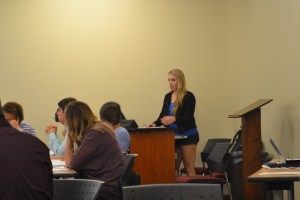 Kelsey Kennedy, a graduate student, discusses the new leadership minor tracks. (Photo by Rachel Richards)
