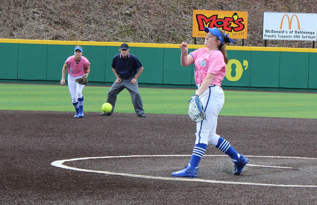 Freshman Kylee Smith delivers a pitch on Sunday against Shepherd University. Smith struck-out seven batters in four innings while not allowing any runs. (Photo by Jake Cantrell)