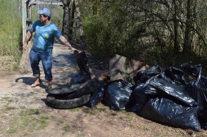 Old tires are not native creek life, and thus should be removed. (Photo by Joshua Glasco)