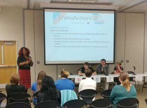 Chanel Haley presents at the Gender Forum. (Photo by Cleveland Moses)
