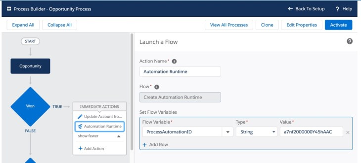 "Process Builder Immediate Action ""Launch a Flow"""