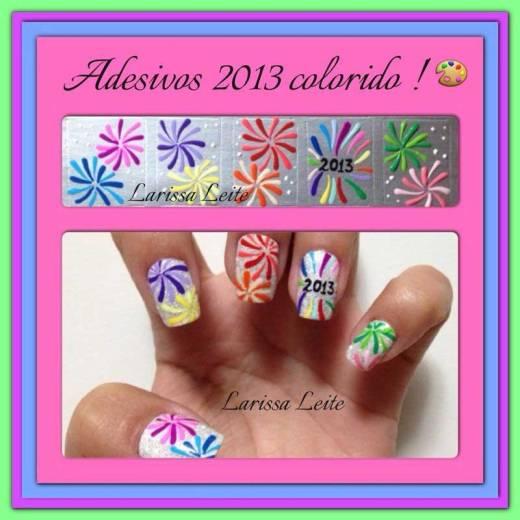 unhas decoradas ano novo colorido 2013