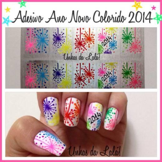 Unhas Decoradas Ano Novo Colorido 2014