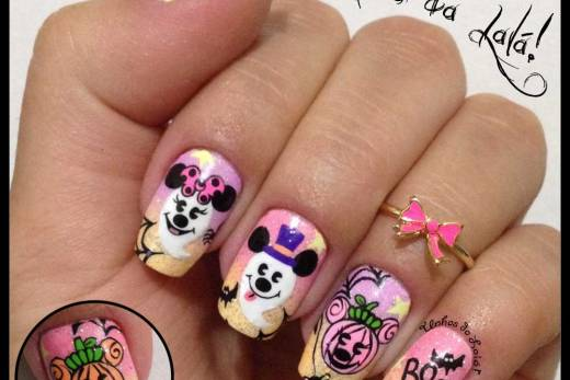 Unhas Decoradas Halloween Mickey e Minnie