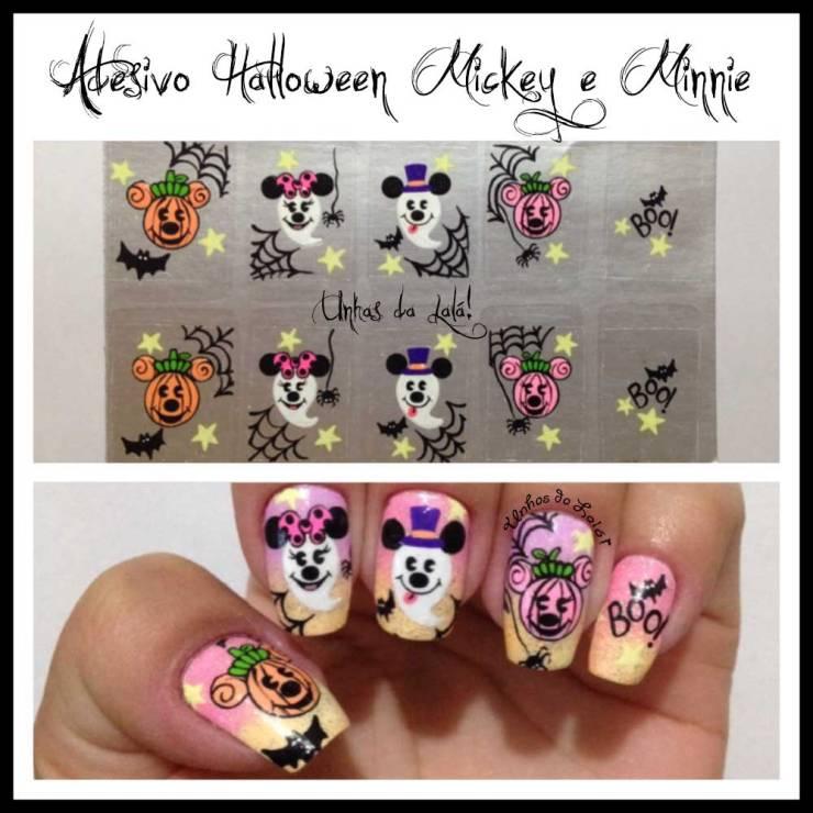 Unhas Decoradas Halloween Mickey e Minnie