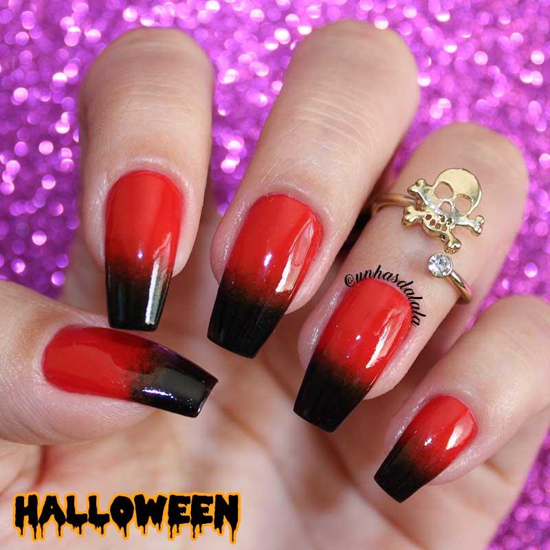 Unhas Decoradas Degradê Halloween