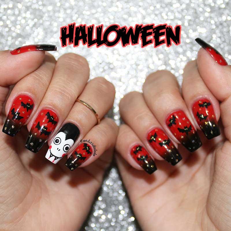 Unhas Decoradas Halloween - Drácula