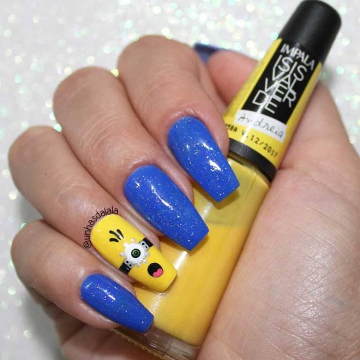 Unhas Decoradas Minions, Dia das Crianças, unhas amarela, unhas azul, aul, amarelo, minions, unhas decoradas, glitter