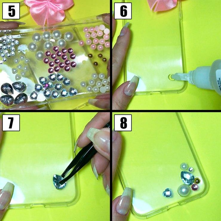 customizando capinha para celular com laço e pedrinhas