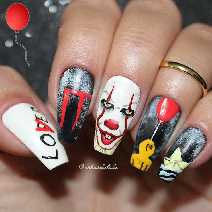 unhas it a coisa, it a coisa, unhas decoradas it a coisa, it nails, it nail art, it nail, it 2017, filme it, palhaço pennywise, pennywise, unhas da lala, unhas da lalá, unhas it da lalá, balão vermelho, palhaço, unhas palhaço, unhas decoradas palhaço, preto, vermelho, amarelo, branco