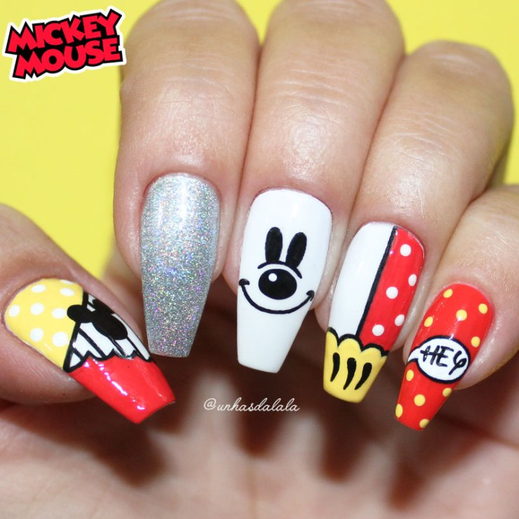 unhas decoradas mickey, unhas mickey, mickey, mickey mouse, mickey nail art, mickey nails