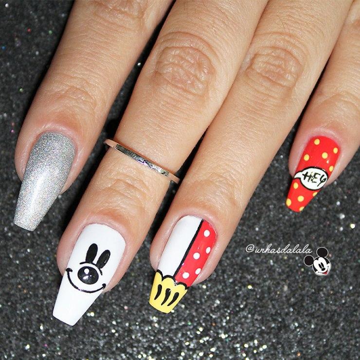 unhas decoradas mickey, unhas mickey, mickey, mickey mouse, mickey nail art, mickey nails