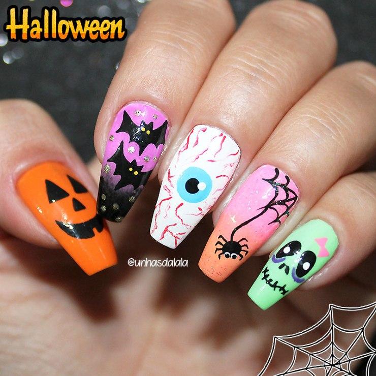 5 unhas fáceis para o halloween, unhas fáceis para o halloween, halloween, unhas halloween, halloween nails, unhas halloween, aranha, teia de aranha, zumbri, olho do mal, abóbora, morcego