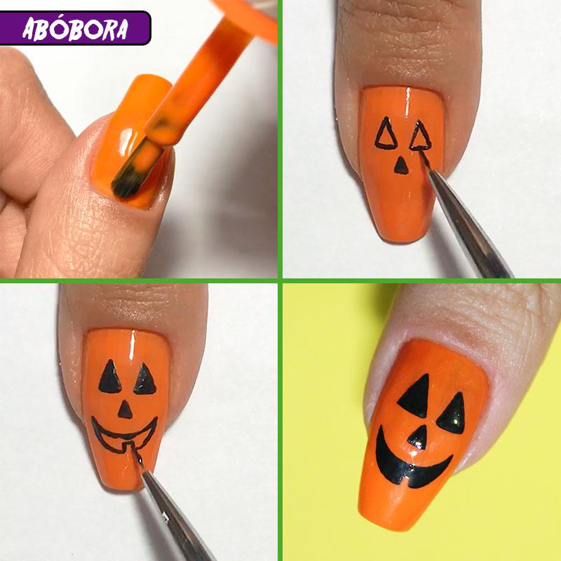 5 unhas fáceis para o halloween, unhas fáceis para o halloween, halloween, unhas halloween, halloween nails, unhas abóbora halloween